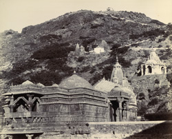 Temples on the Girnar Hills [with Ra Khengar's Palace in the foreground, Junagadh]